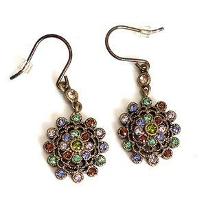 Multicolor flower dangle earrings vintage